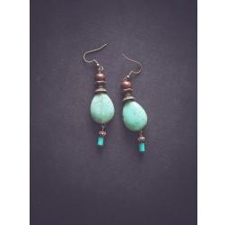 Pendientes colgantes, Howlita púrpura, bronce
