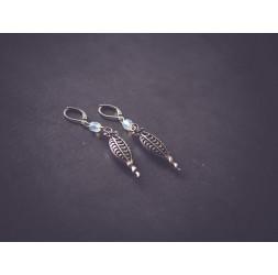 Earrings, retro style silver pendant