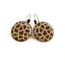 Cabochon earrings, Giraffe skin, beige brown