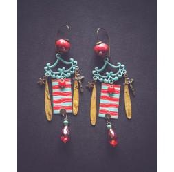 Unique Piece Earrings, Bohème, Gypsy, red, gold, blue