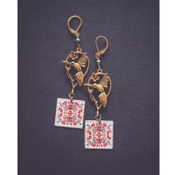 Colibri earrings, gold, red, white