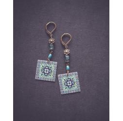 Pendientes, Marruecos, Azul, verde, blanco, bronce