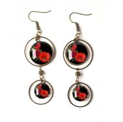 Boucles d'oreilles Coquelicots au choix, rouge et noir, bronze