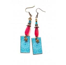 Boucles d'oreilles, Agate Fushia, Fleur Bleu et blanche, bronze
