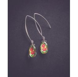 Poppy in the near earrings, green red silver