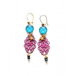 Boucles d'oreilles, dorées, Bleu Fushia, Baroque