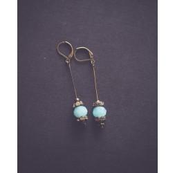 Boucles d'oreilles pendentif, Bleu pastel et strass, Bronze