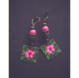 Boucles d'oreilles, Fleur Tropicale, Vert fushia, bronze