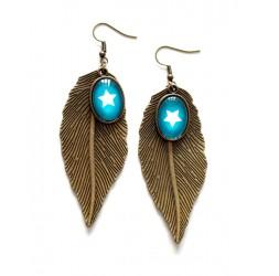 Earrings, Bronze leaf, White star, Turquoise