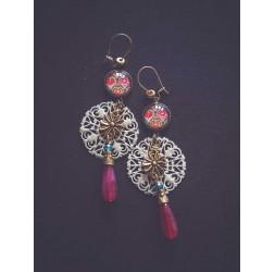 Earrings, Bohemia, Multicolour, bronze, golden