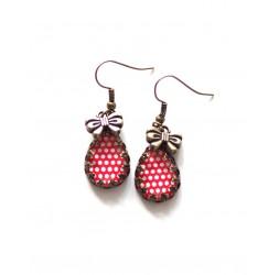 Red dots drop earrings, Bronze