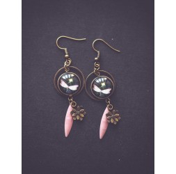 Earrings, small dragonfly, pink and black, bronze