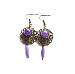 Floral, Orchid, purple, fuchsia, bronze earrings