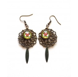 Pendientes, Fleuri, inspiración india, oro rojo, bronce