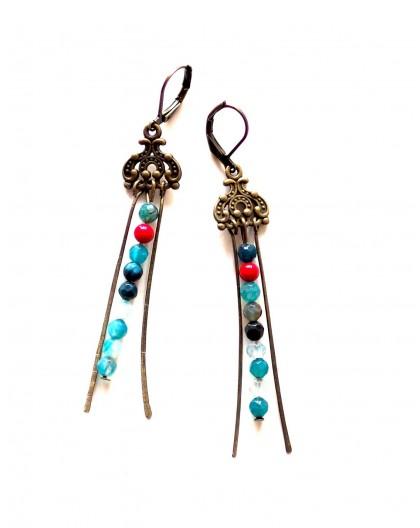 Earrings, Fleuri, Indian inspiration, red gold, bronze