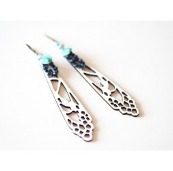 Pendientes alas de libélula blancos, azules y bronce