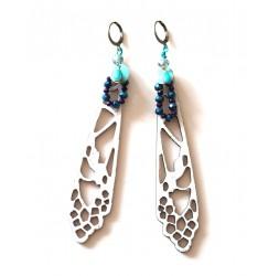 White, blue, bronze dragonfly wings earrings