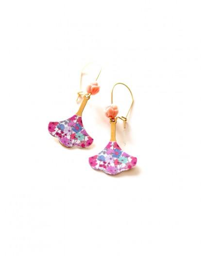Golden earrings, Fleurettes, liberty style, fuchsia, pink, gold