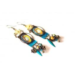 """Boucles d'oreilles """"Wax"""", Afrique, bleu vert, jaune, bronze"""