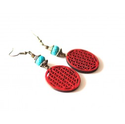 Flower of Life Earrings Red, turquoise blue, bronze