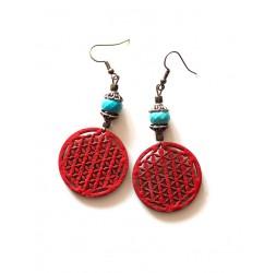 Pendientes Flor de la Vida Rojo, azul turquesa, bronce
