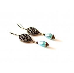 Retro style earrings, arabesque, turquoise blue drops, bronze