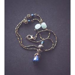 Collar 45 cm * Jaspe * Aguamarina, bronce