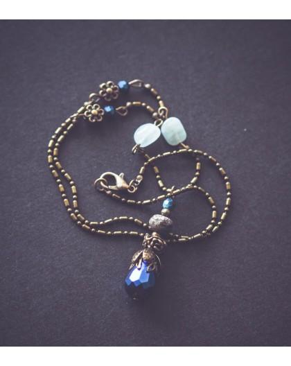 Necklace 45 cm * Jasper * Aquamarine, bronze