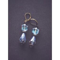 Boucles d'oreilles Bleu mer, bronze, rétro