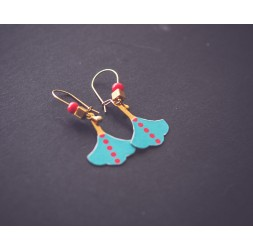 Boucles d'oreilles Feuille Ginkgo Bleu, Rouge, bronze