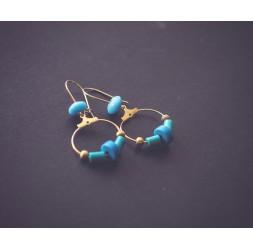 Boucles d'oreilles créoles dorées, bleu turquoise