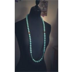 Collier Sautoir de perles bleu pastel et bronze