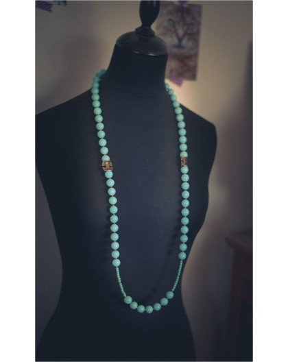 Necklace Necklace with pastel blue and bronze pearls