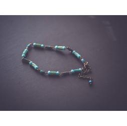 Pulsera fina, tonos de azul, bronce