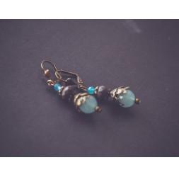 Boucles d'oreilles Jade bleu, jaspe chohua, bronze