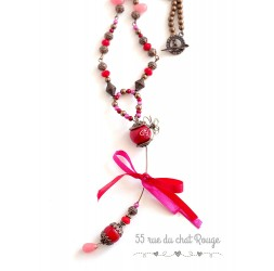 Fancy red and fuchsia necklace with Jade drop pendant