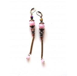Long Pendant Boucles d'oreilles, rose, bronze, quartz rose