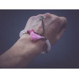 Bracelet Rose, Howlite, fleur, bronze