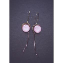 Boucles d'oreilles, cabochon Rose Floral, bronze