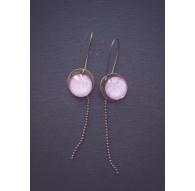Pendientes, cabujón floral rosa, bronce