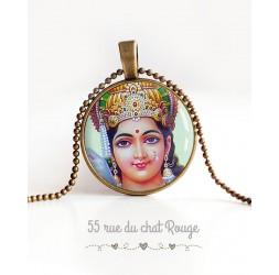 Collana cabochon ciondolo Hindu Dea indù, Vishnu, portafortuna