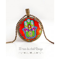 Fatma Hand cabochon pendant necklace, Lucky charm