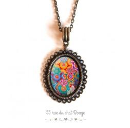 Necklace cabochon pendant, bohemian spirit multicolor
