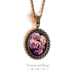 Cabochon cabochon pendant necklace Rose bouquet, pink and purple tones