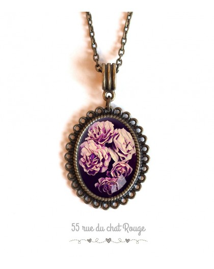 Cabochon cabochon pendant necklace Rose bouquet, pink and purple tones