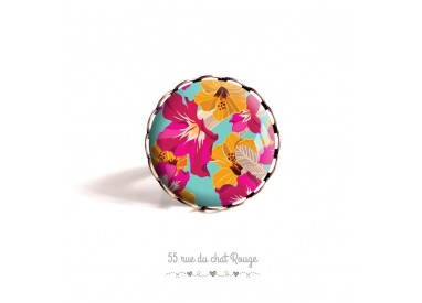 Ring Cabochon, Exotic flowers, colored, yellow turquoise fuchsia