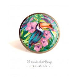 Bague cabochon, oiseau Toucan, hibiscus exotique, colorée