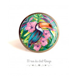 Cabochon ring, Toucan bird, exotic hibiscus, colorful