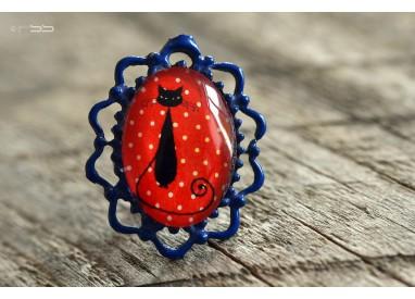 Cabochon Ring Small cat small polka dots