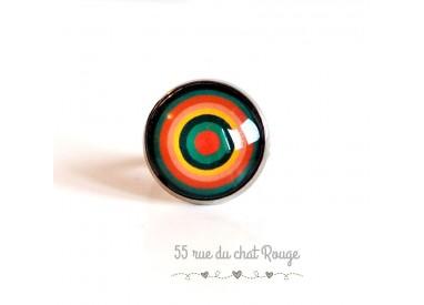 Anillo Cabujón de colores, círculos infinitos, verde y naranja